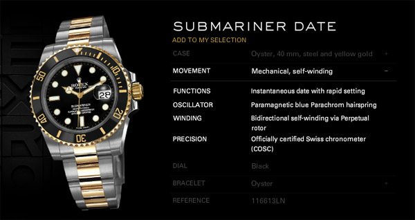 Rolex Submariner en or jaune et de l'acier d'origine montre
