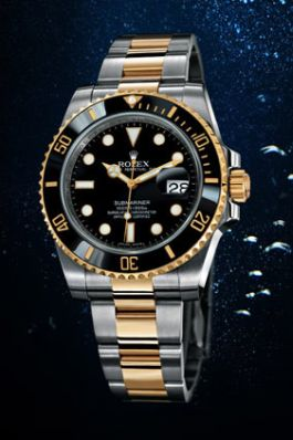 originale or jaune Rolex Submariner et montre en acier inoxydable