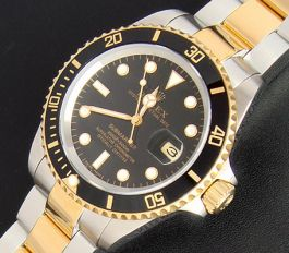 Replique Rolex Submariner or jaune montre en acier inoxydable
