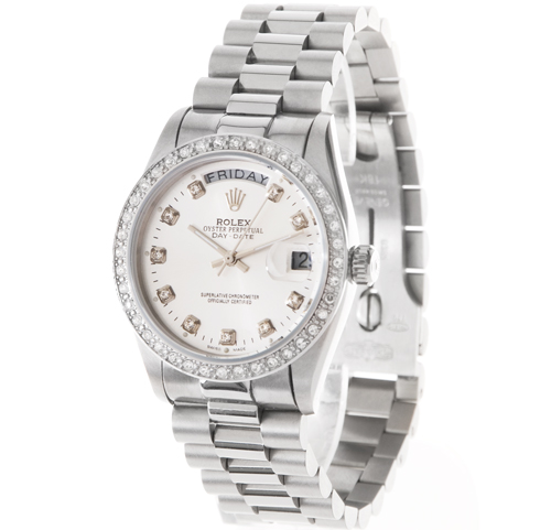 Replique Rolex Day-Date en or blanc diamants