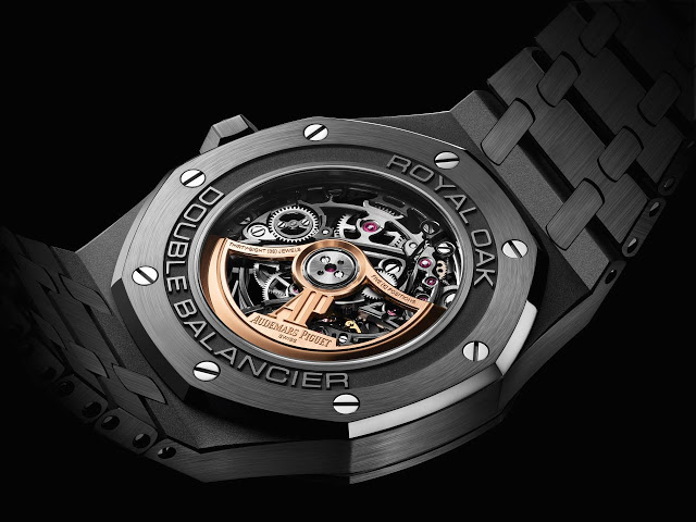 Copie Montre Audemars Piguet Royal Oak Double Balance Wheel Openworked Black Ceramic